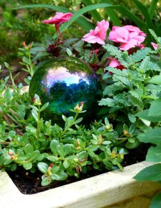 Gazing globes mixed with plants