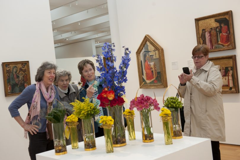 Visitors enjoy Art in Bloom at the NC Museum of Art in Raleigh