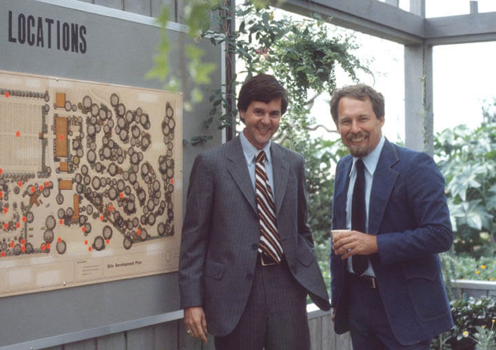 Dr. J.C. Raulston (right) and the arboretum's master plan (unidentified student on the left).