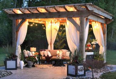 Outdoor patio with lights